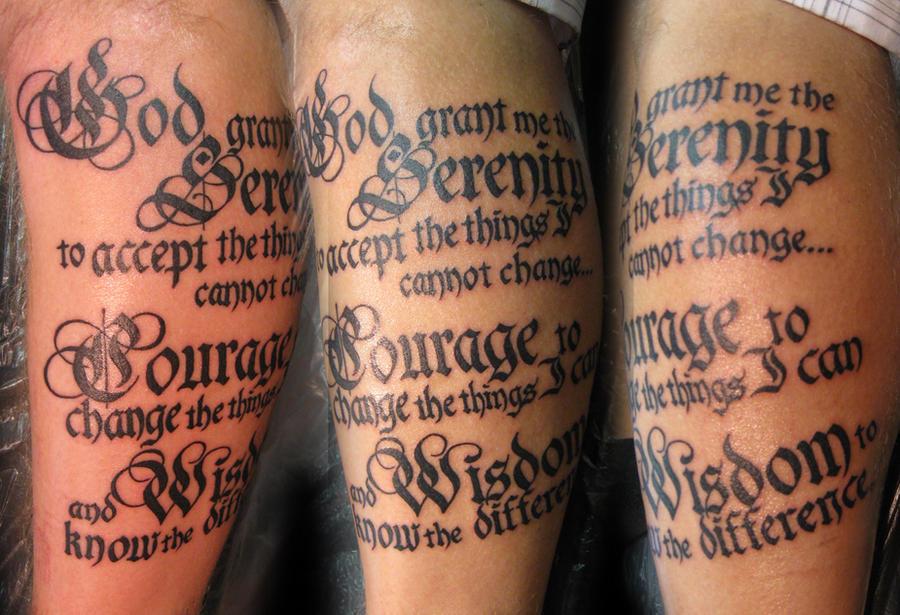 prayer tattoos. serenity prayer tattoo.