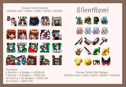 Twitch Emotes and Badges Commission Info