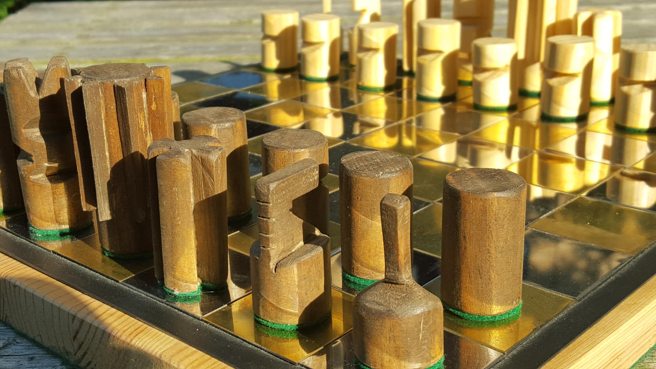 Handmade Mirrored Steel and Brass Chess Board by MadeInTheMancave