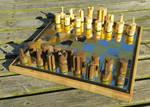 Handmade Mirrored Steel / Brass Chess Board
