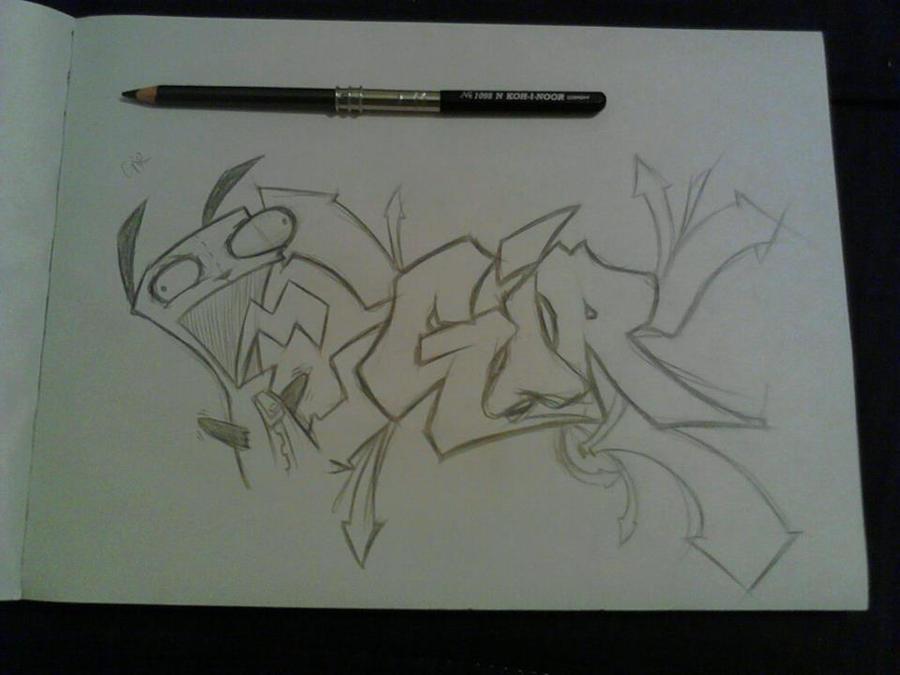 Gir graffiti sketch by k13pt0