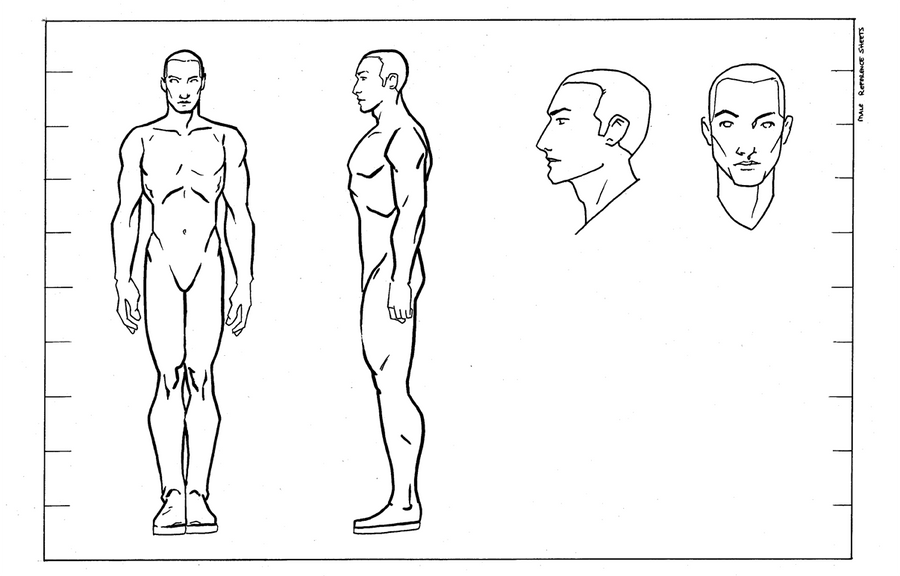 Character Design Outline : Reference male by questingraven on deviantart
