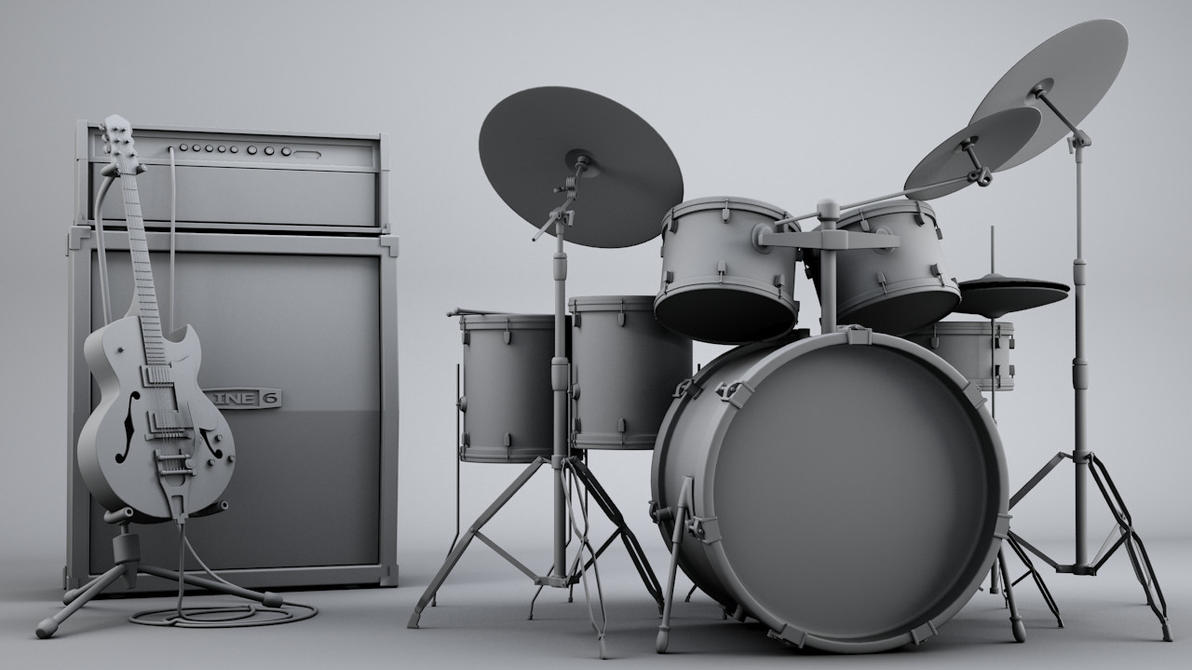 Drum set wallpaper blue