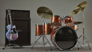 3d Guitar and Ampstack and Drum set textured