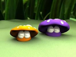 Two Shrooms by purpleshroom