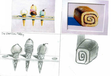 Wayne Thiebaud Ice-Cream and Jam Roll sketch by pokemonlake