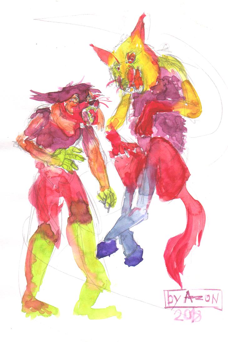 Acidfeet Lynx and a Horsebottom Wolf by AzonBobcat