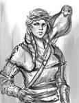 Sketch no. 578 Wynn and her hawk.