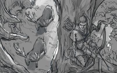 Sketch no.583 Elk Hunt by Olieart