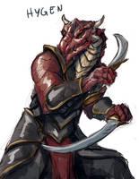 Sketch no. 589 Hygen Dragonborn Rogue by Olieart