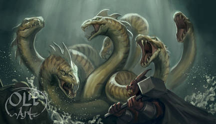 Hydra at the sewers by Olieart