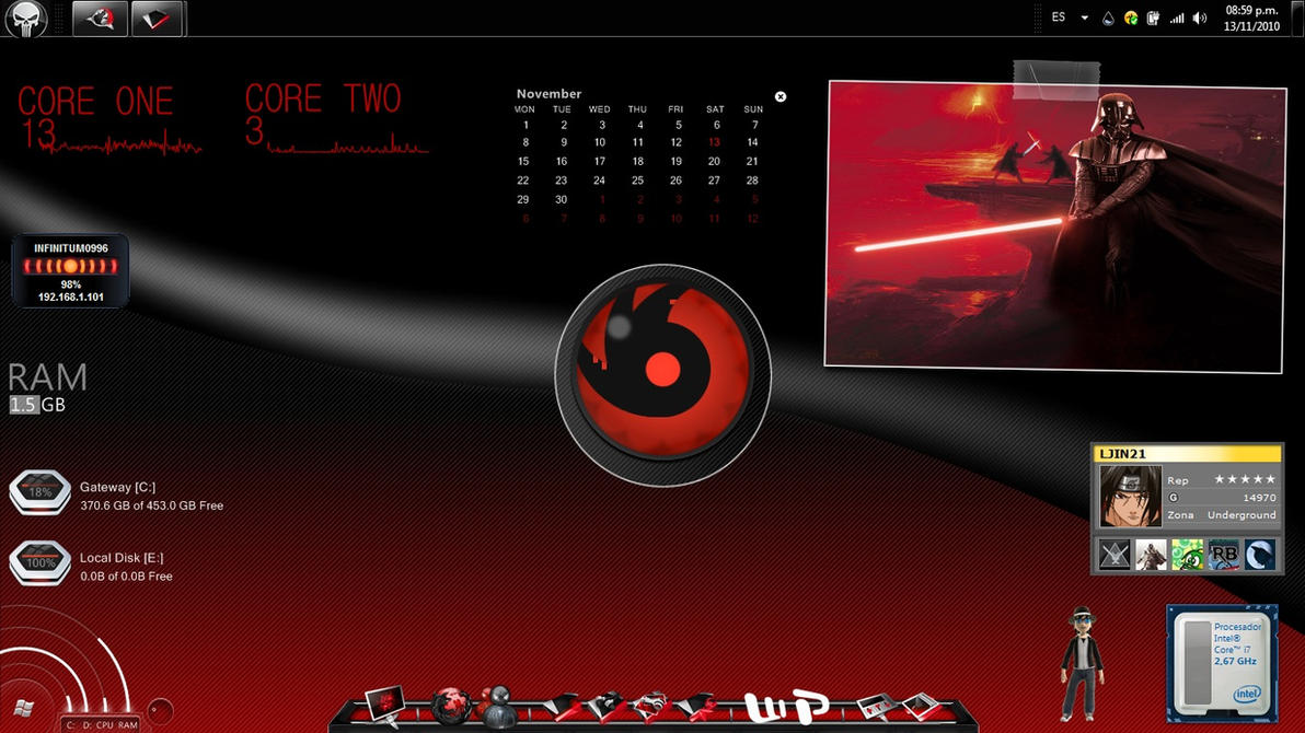 Rubrer - Rainmeter Theme by ferkno77