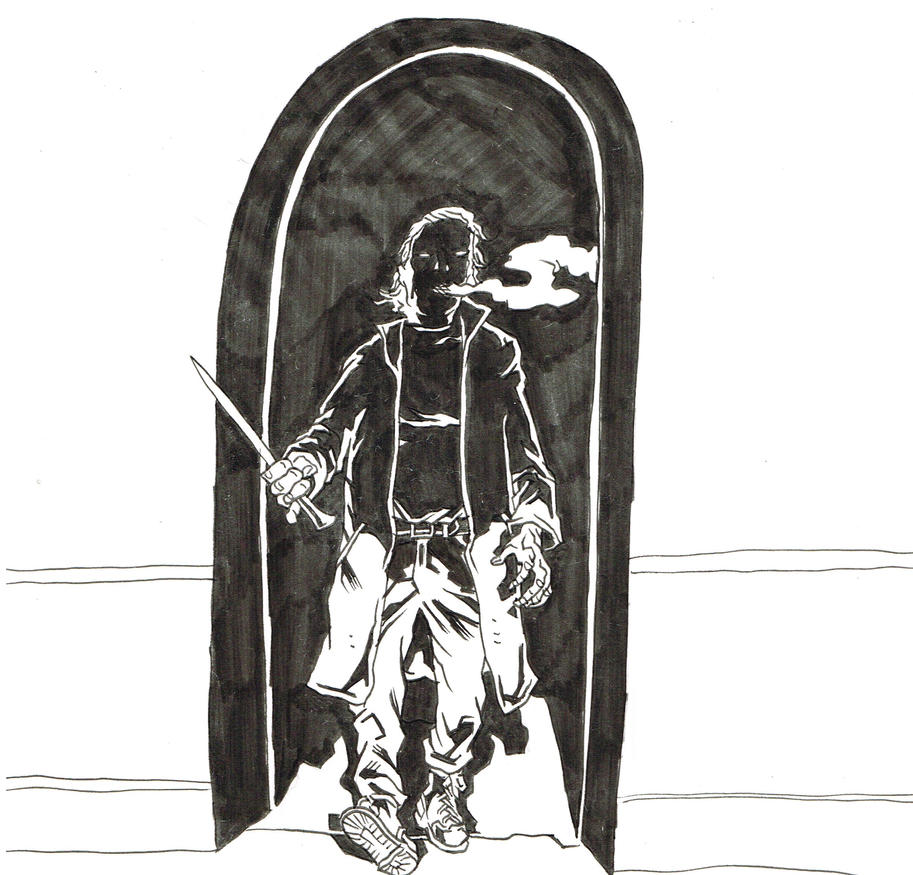 Inktober 2016 - The Knife in the Doorway by KurtBelcher1