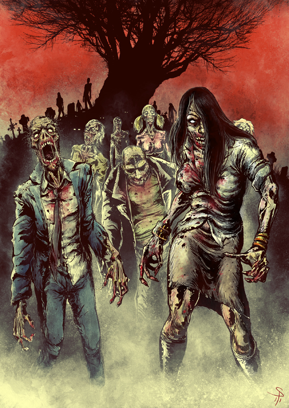 Horde Of Zombies Drawing