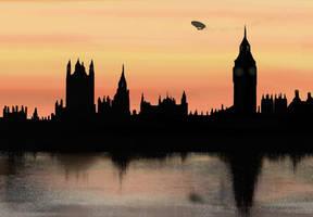 Airship over London by raegar