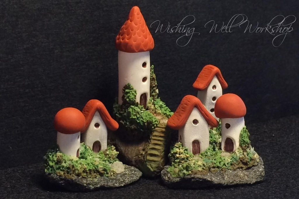Polymer Clay Miniature Village by missfinearts