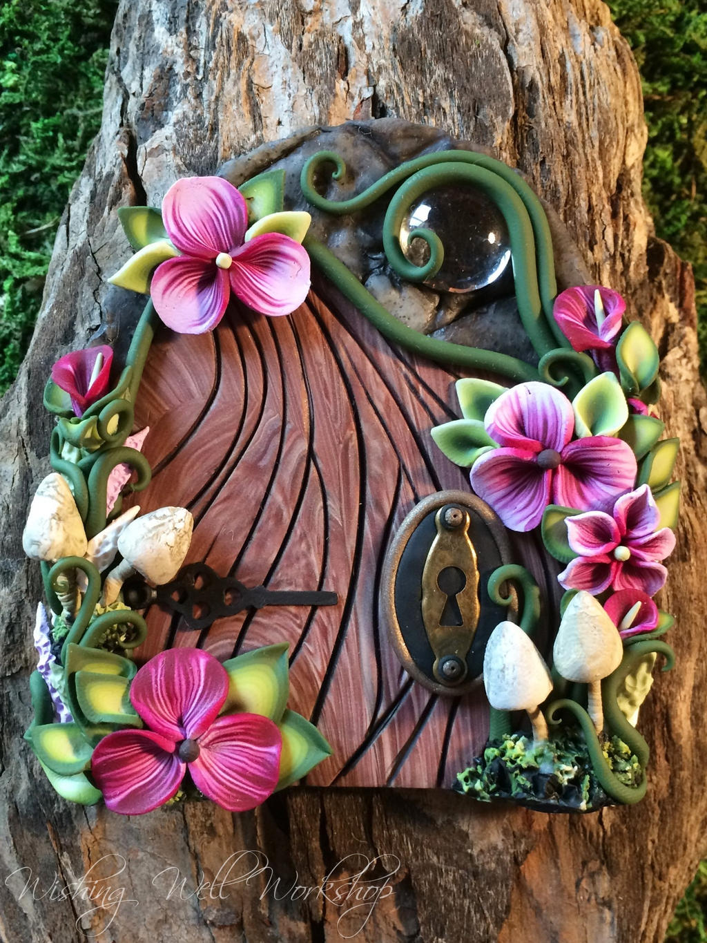 Polymer clay fairy door pink with mushrooms by How to make a fairy door out of clay
