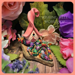 Polymer Clay Fairy Cottage-Pink