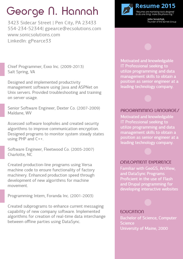 Resume Format For Experienced It Professionals Experienced