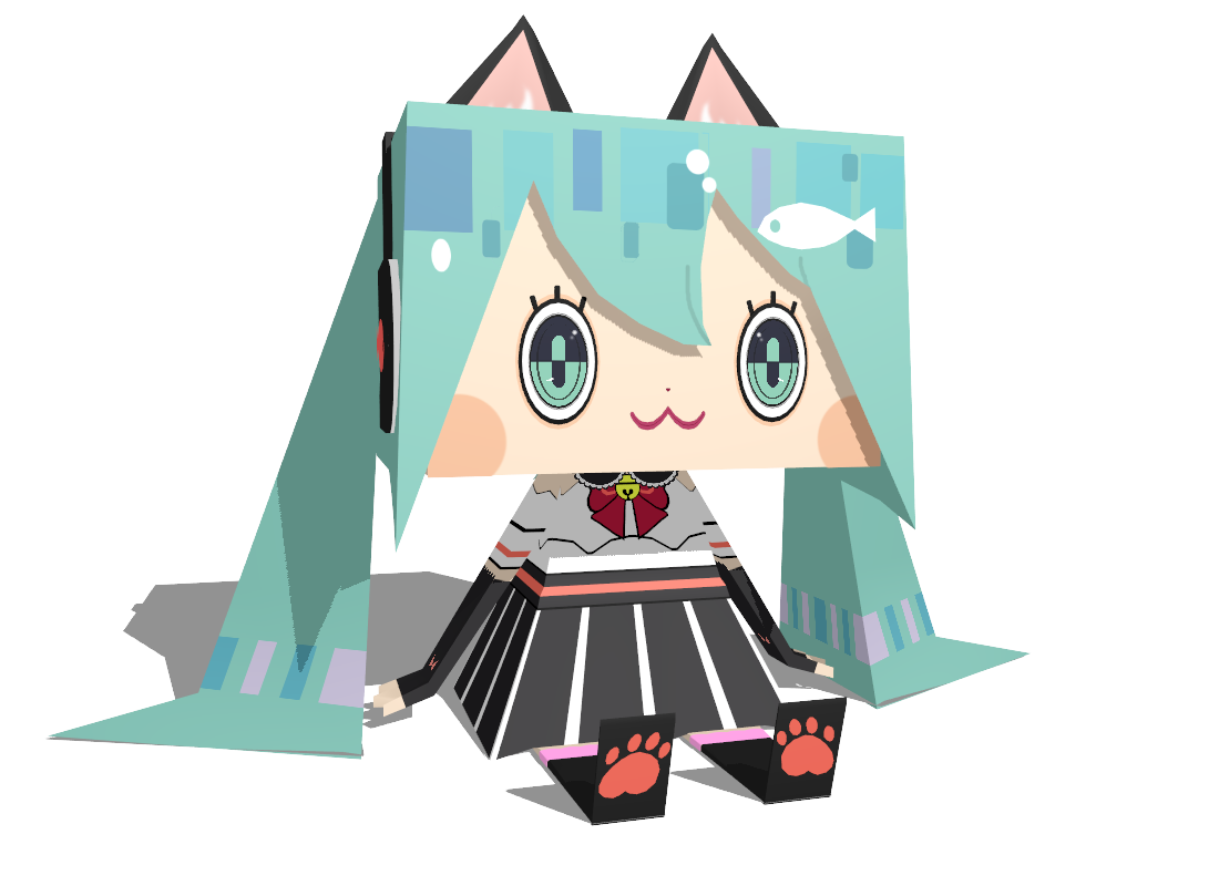 MMD - cat miku (papercraft like) by Ina-C