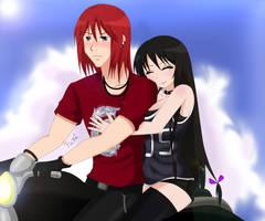 Tiel e Nana andando de moto. by donacirilo