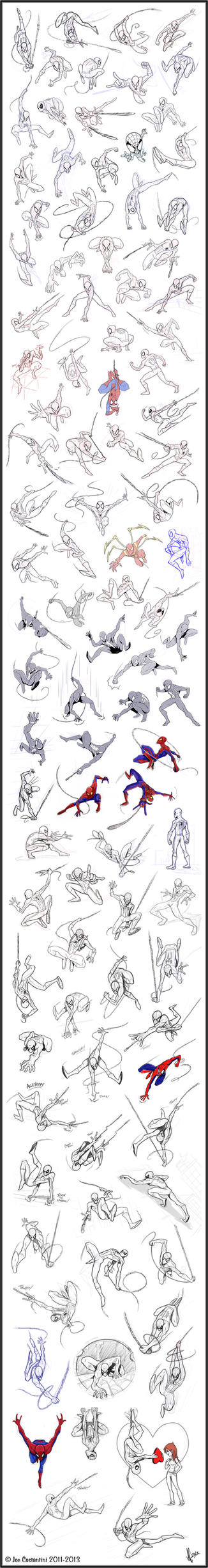 100 Spidey Poses by JoeCostantini