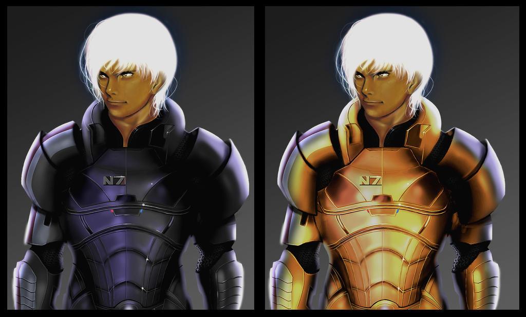 K' SHEPARD Black and Golden N7 Armor by Phoenixtsubasa