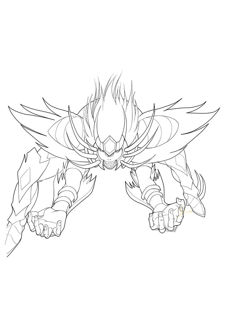Rage of Deathmask (Lineart) by Phoenixtsubasa