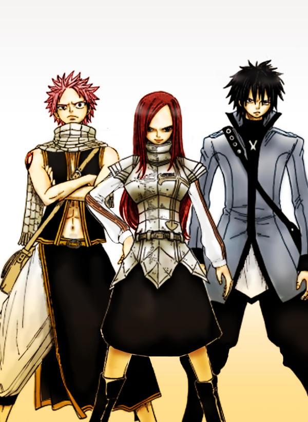 Fairy Tail: Erza, Natsu, Gray by antonique on DeviantArt