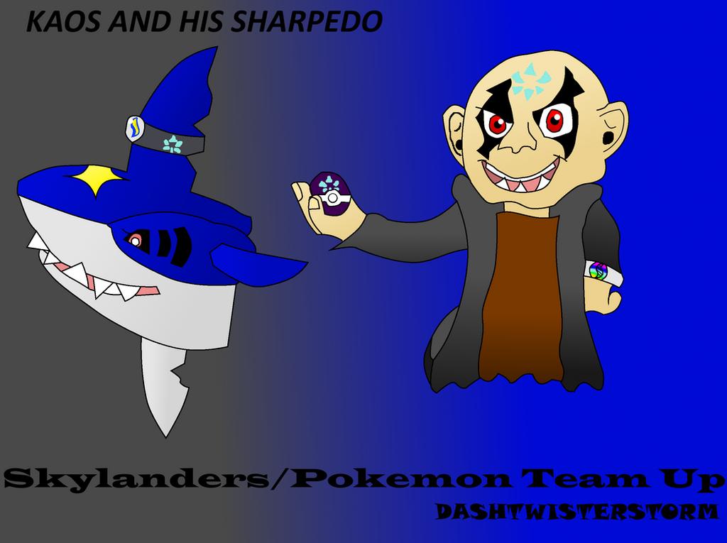 Skylanders and Pokemon Team Up: Kaos and Sharpedo by DashTwisterstorm
