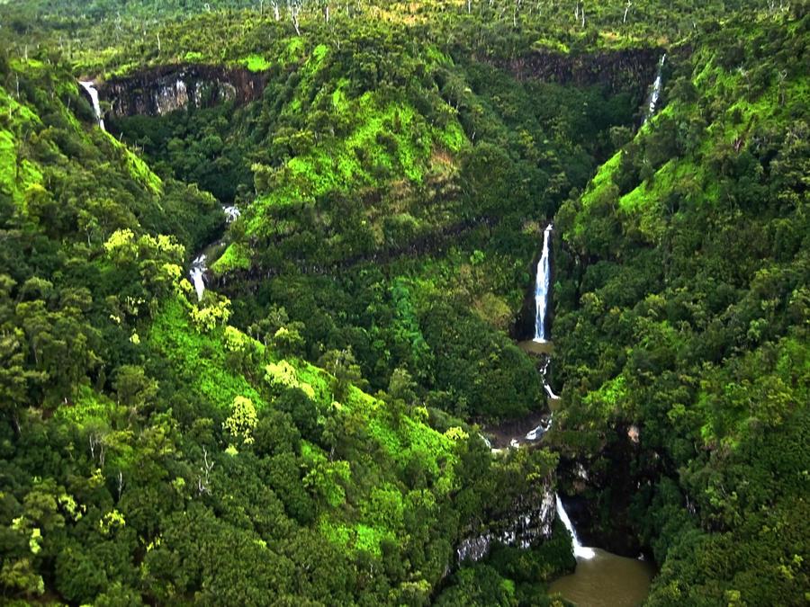 Five Sisters Waterfalls, Kauai by Utukki-Girl