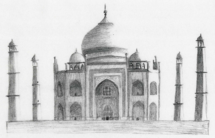 Taj Mahal Black And White Sketch Taj mahal sketch by karllevy
