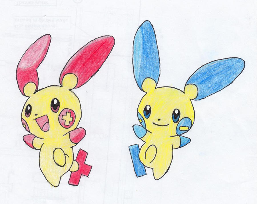 Plusle and Minun by apaskins1991Plusle And Minun