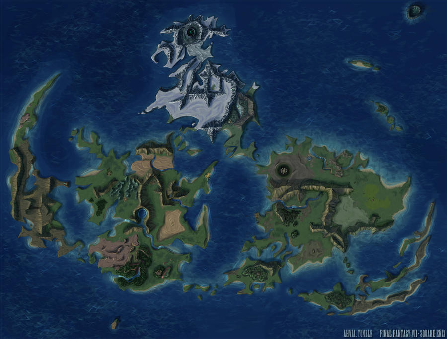 Final Fantasy Vii World Map By Ahvia On Deviantart