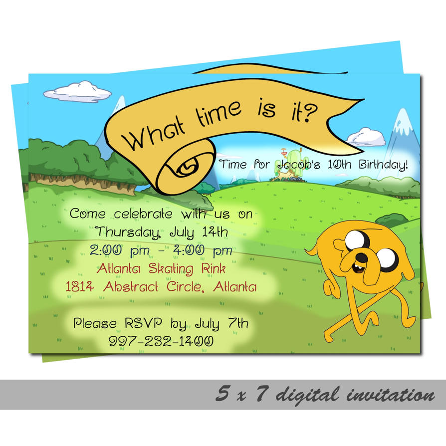 Adventure Time Jake 5x7 Digital Invitation by KyraStarr on DeviantArt
