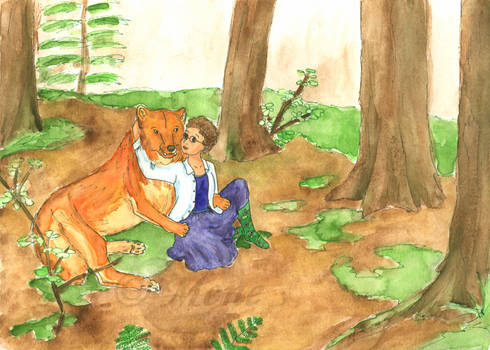 Katie and Tan -dire wolf-