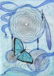 Dreamcatcher and butterfly (blue)