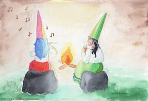 [Privion / Gnomes] Techno and Risa as gnomes