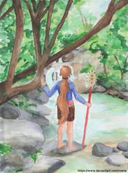 Zelda discovers a lake by mene