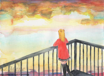 K.C. Looking at the morning sky by mene