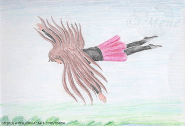 Flying with my hair by mene