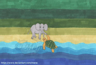 Elephant and Turtle by mene