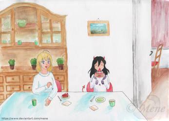 [Art trade] Vivi and Luci eating cake by mene