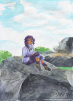 [Art trade] Wist sitting on a rock by mene