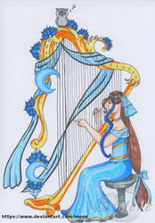 Luna plays the harp