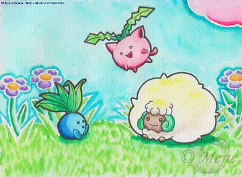 [Pokemon] Oddish, Hoppip and Whimsicott