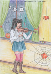 Playing Halloween songs on the violin
