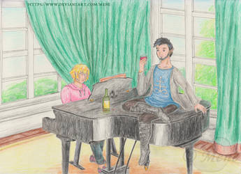 Kei and Dimitri on the piano