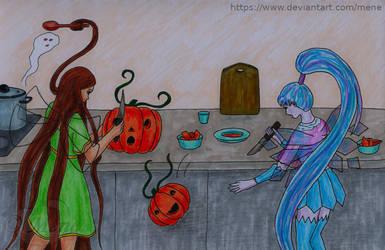 Sewiila and Lisari carving pumpkins