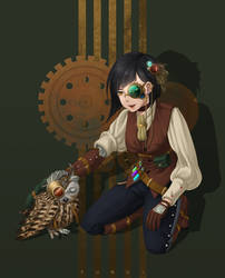 Steampunk Girl and Owl by yunopia